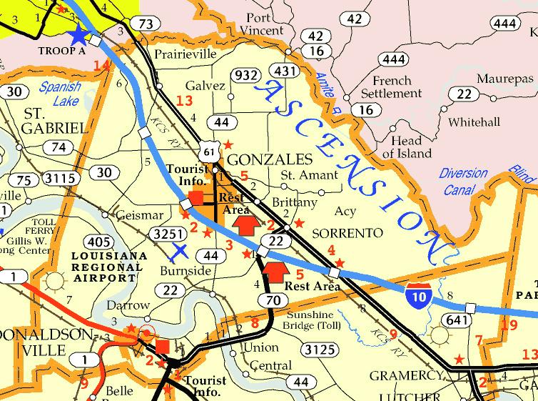 DOTD Ascension Parish Tourism Map