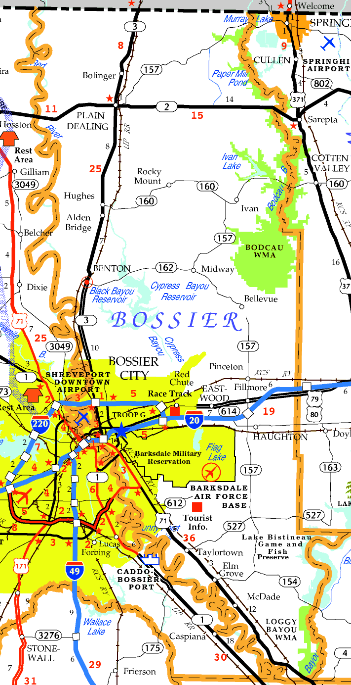 DOTD Tourism Map of Bossier Parish