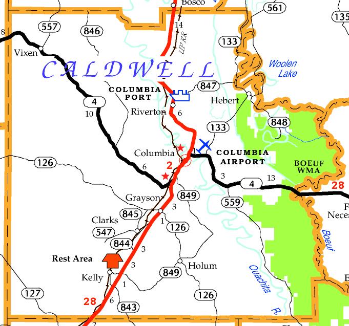 DOTD Tourism Map of Caldwell Parish