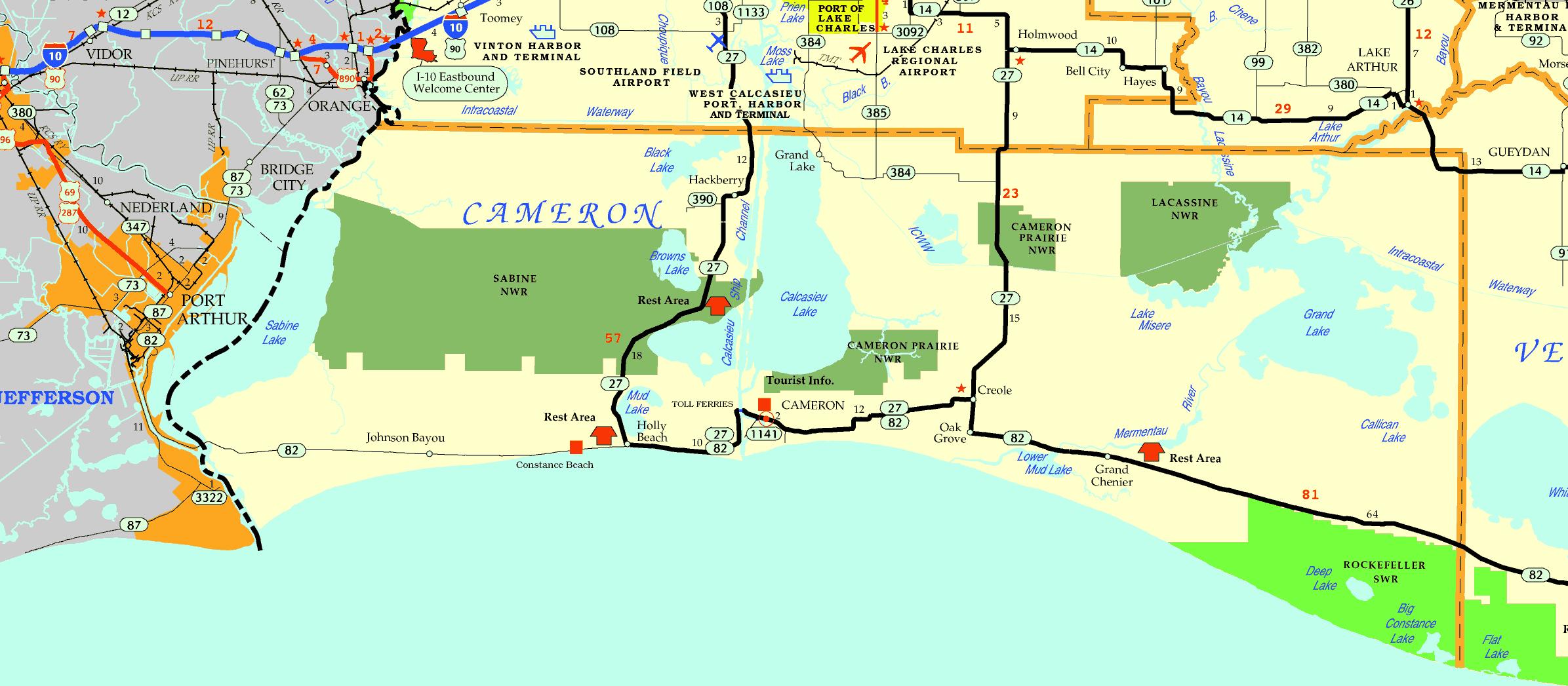 DOTD Cameron Parish Tourism Map