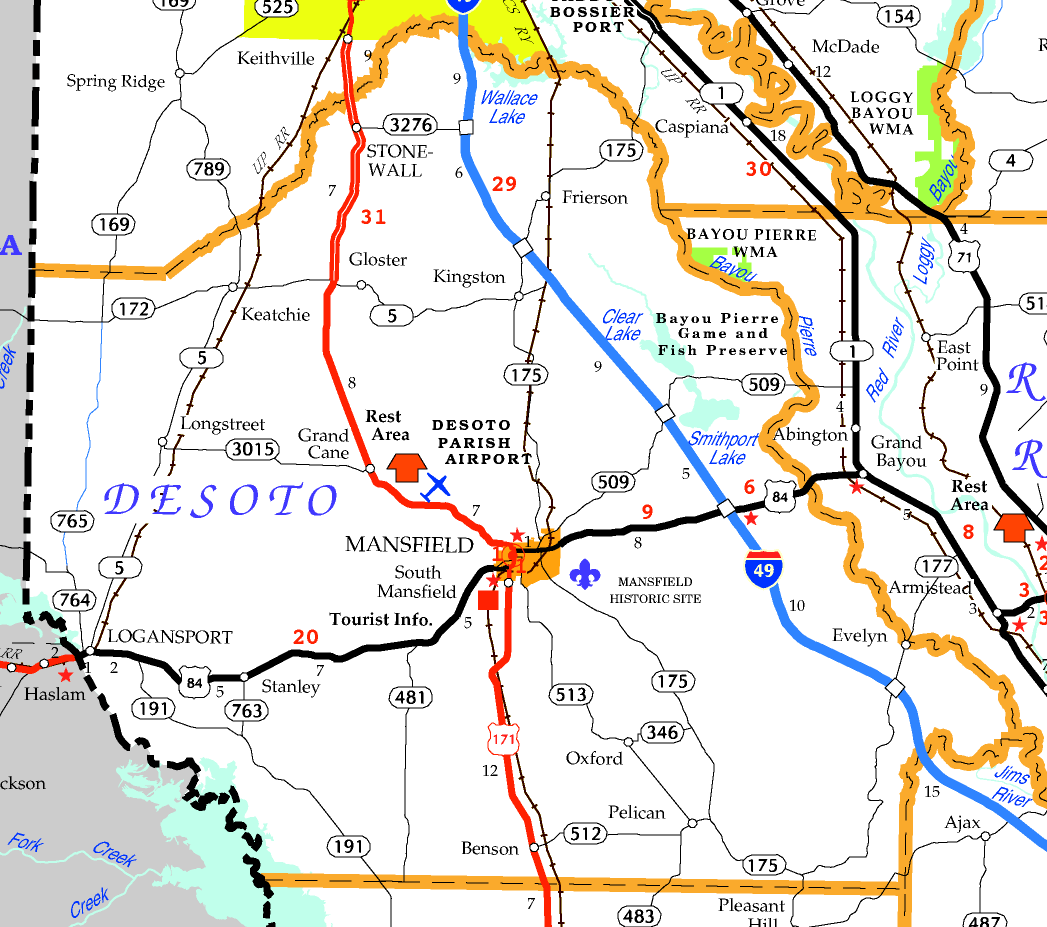 DOTD Tourism Map of DeSoto Parish