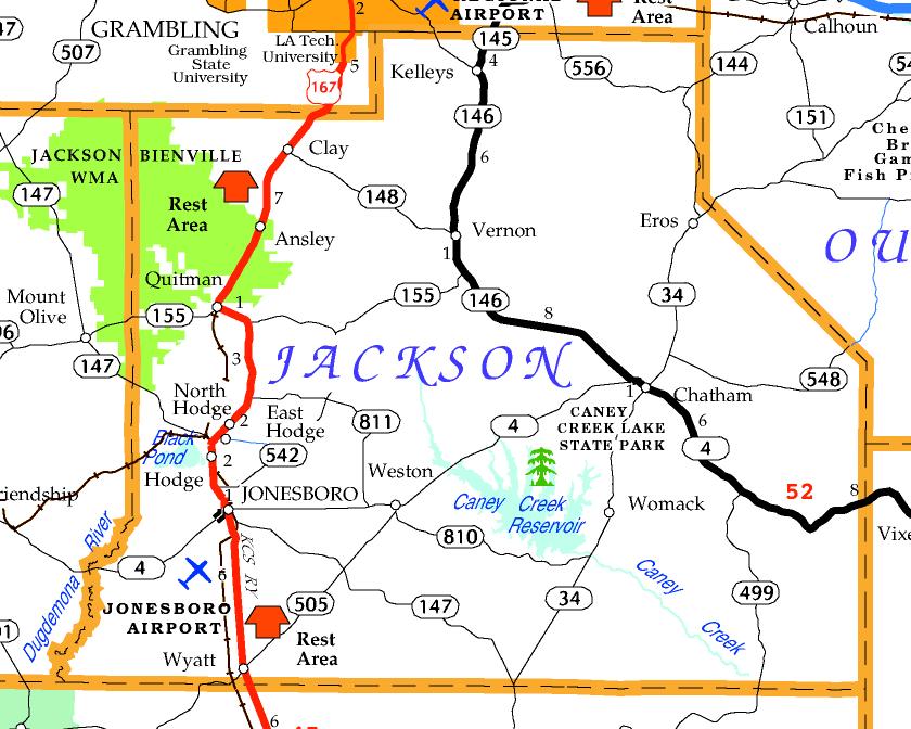 DOTD Tourism Map of Jackson Parish