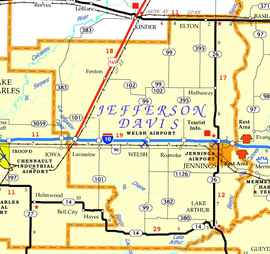 DOTD Jefferson Davis Parish Map