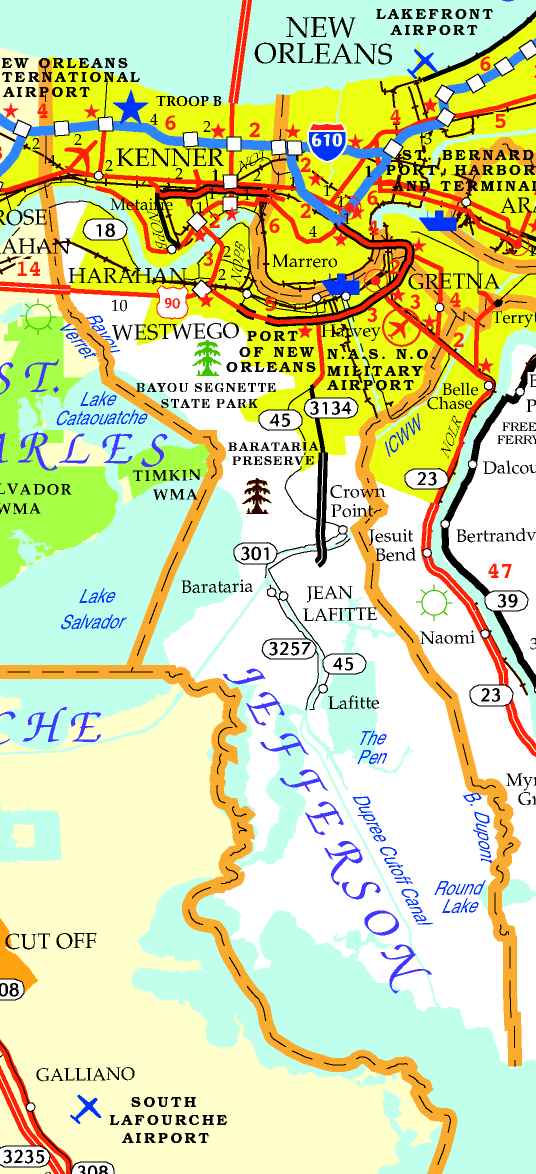 DOTD Tourism Map of Jefferson Parish