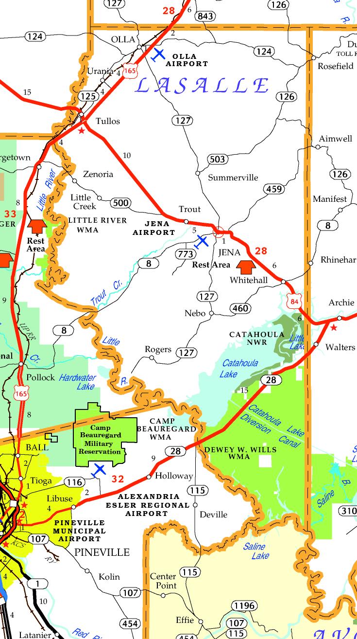 DOTD Tourism Map of La Salle Parish