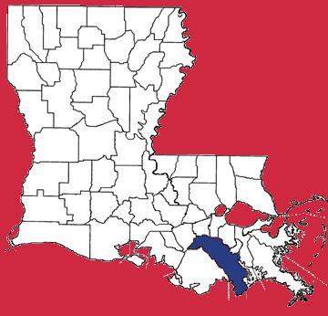 Map of Lafourche Parish