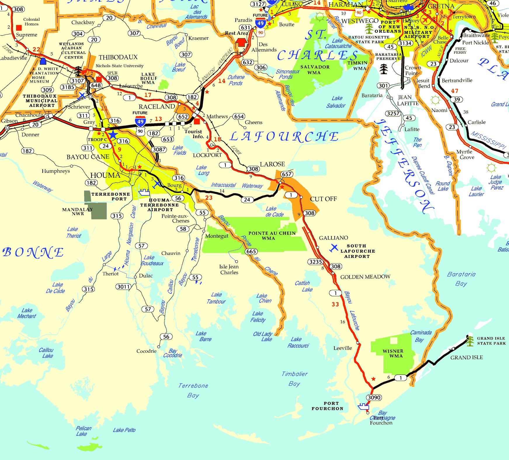 DOTD Tourism Map of Lafourche Parish