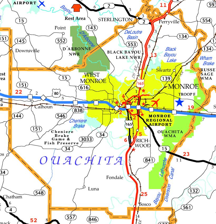 DOTD Tourism Map of Ouachita Parish