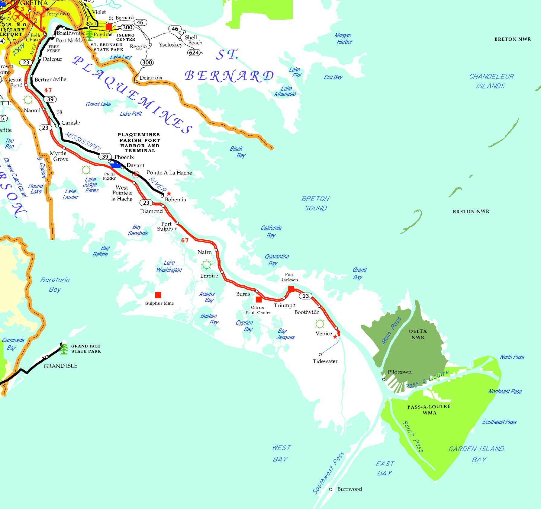 DOTD Tourism Map of Plaquemines Parish