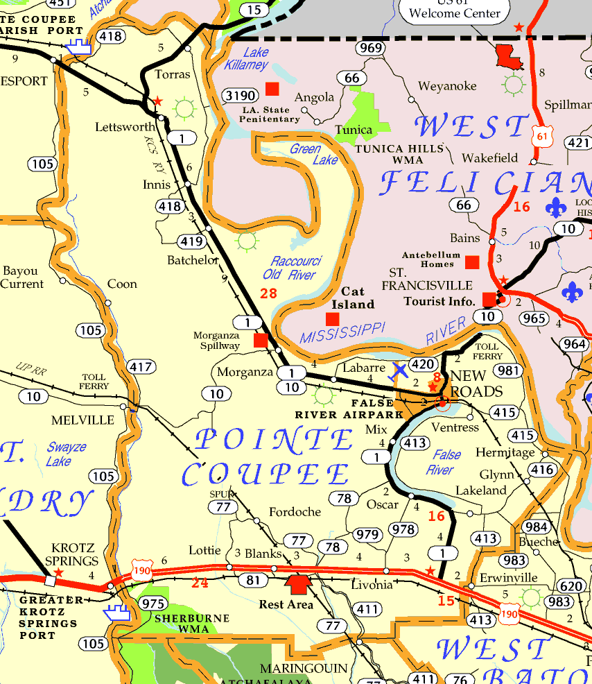 DOTD Tourism Map of St. Charles Parish