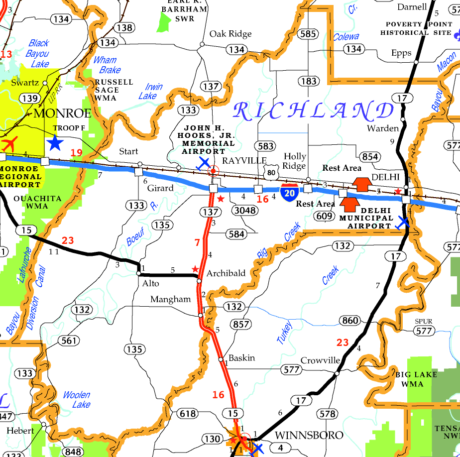 DOTD Tourism Map of Richland Parish