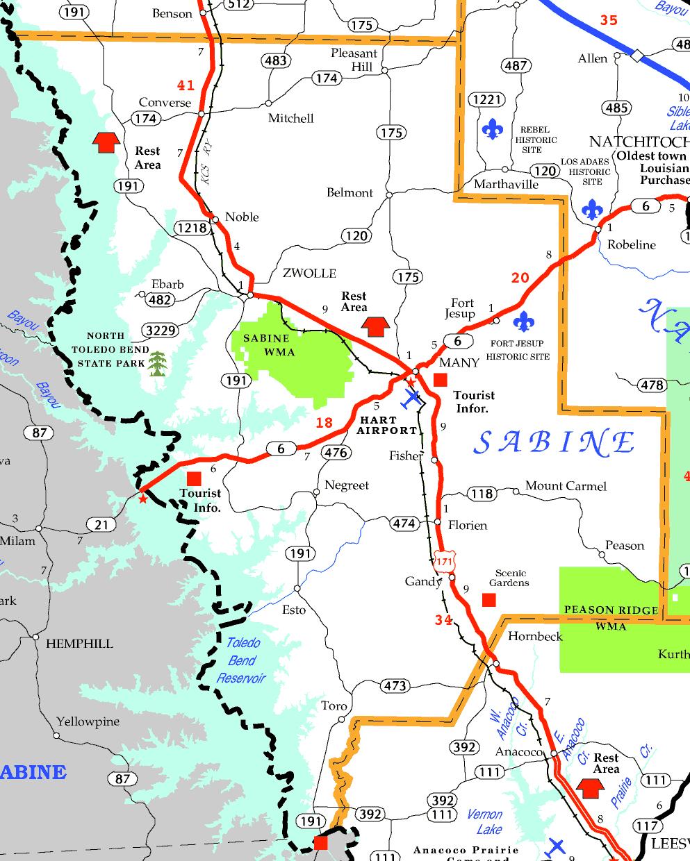 DOTD Tourism Map of Sabine Parish