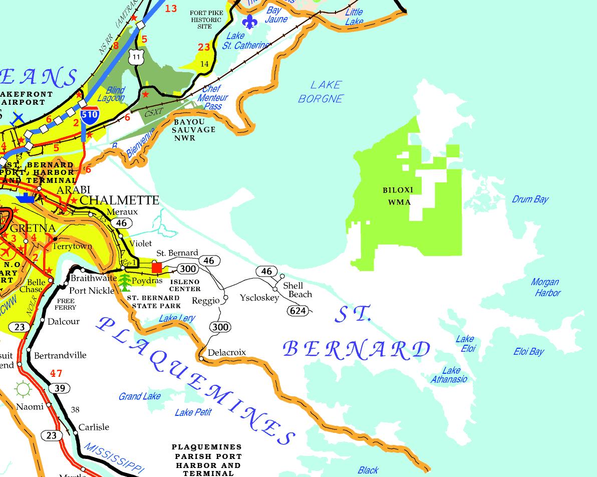 DOTD Tourism Map of St. Bernard Parish
