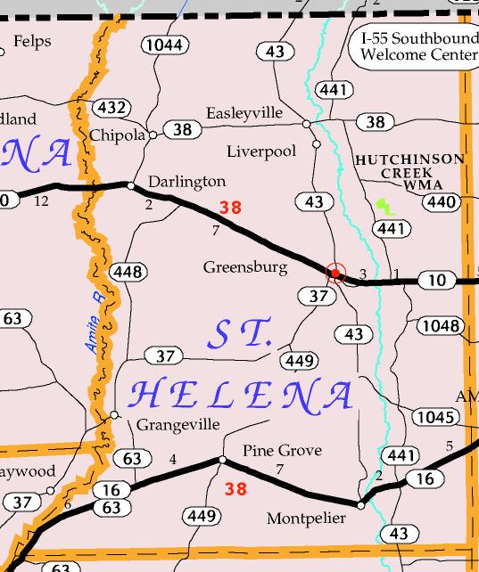DOTD Tourism Map of St. Helena Parish