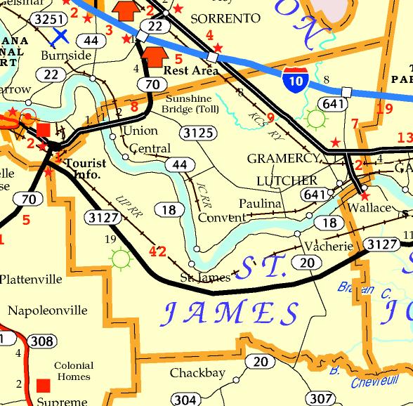 DOTD Tourism Map of St. James Parish