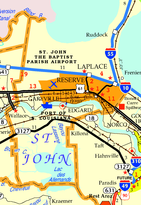 DOTD Tourism Map of St. John Parish