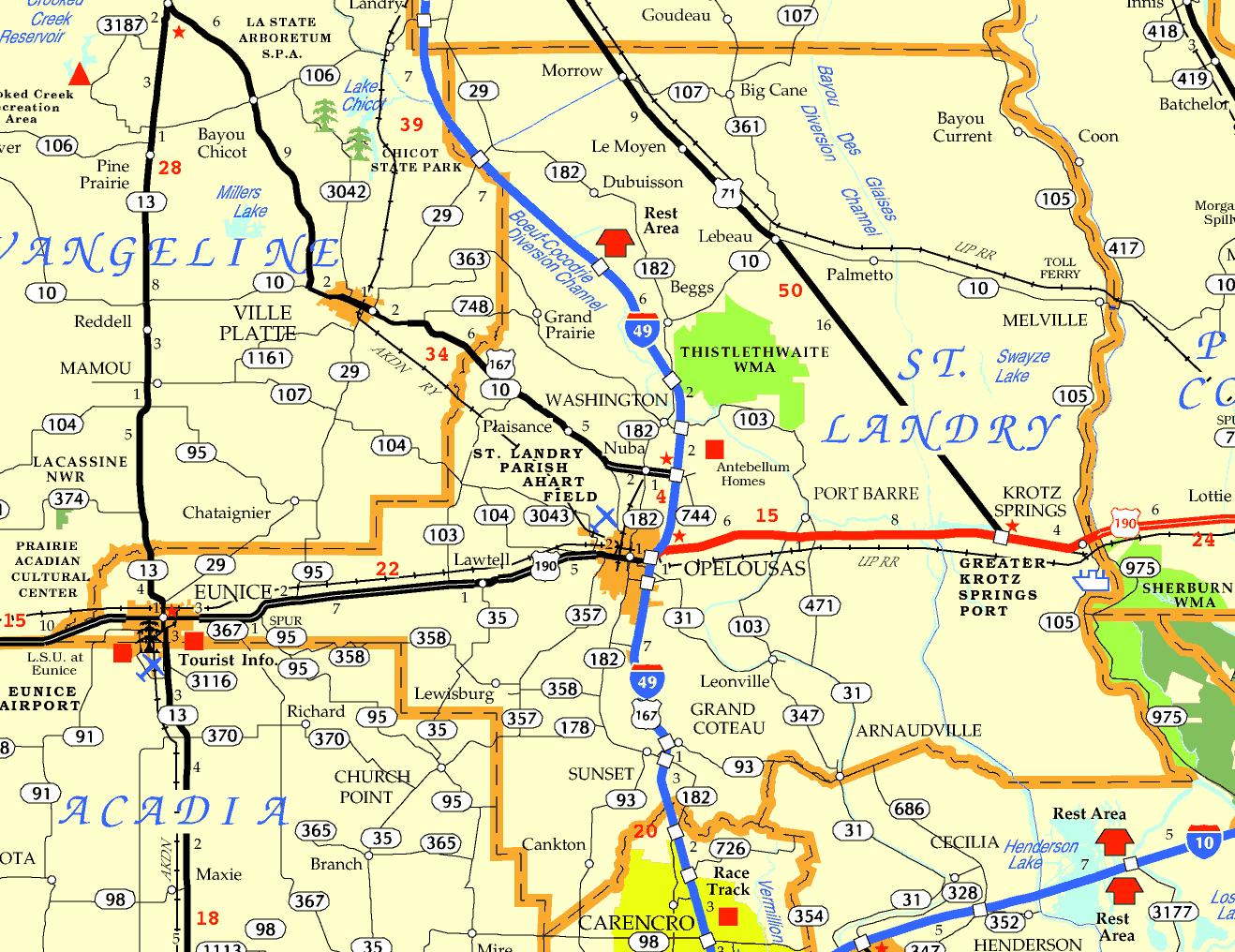 DOTD Tourism Map of St. Landry Parish