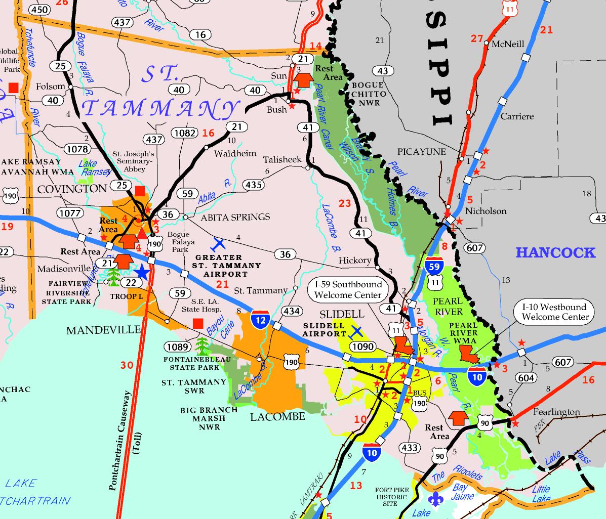 DOTD Tourism Map of St. Tammany Parish