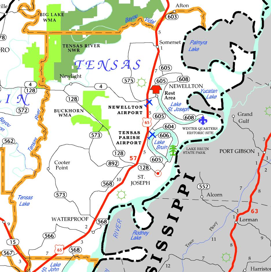 DOTD Tourism Map of Tensas Parish