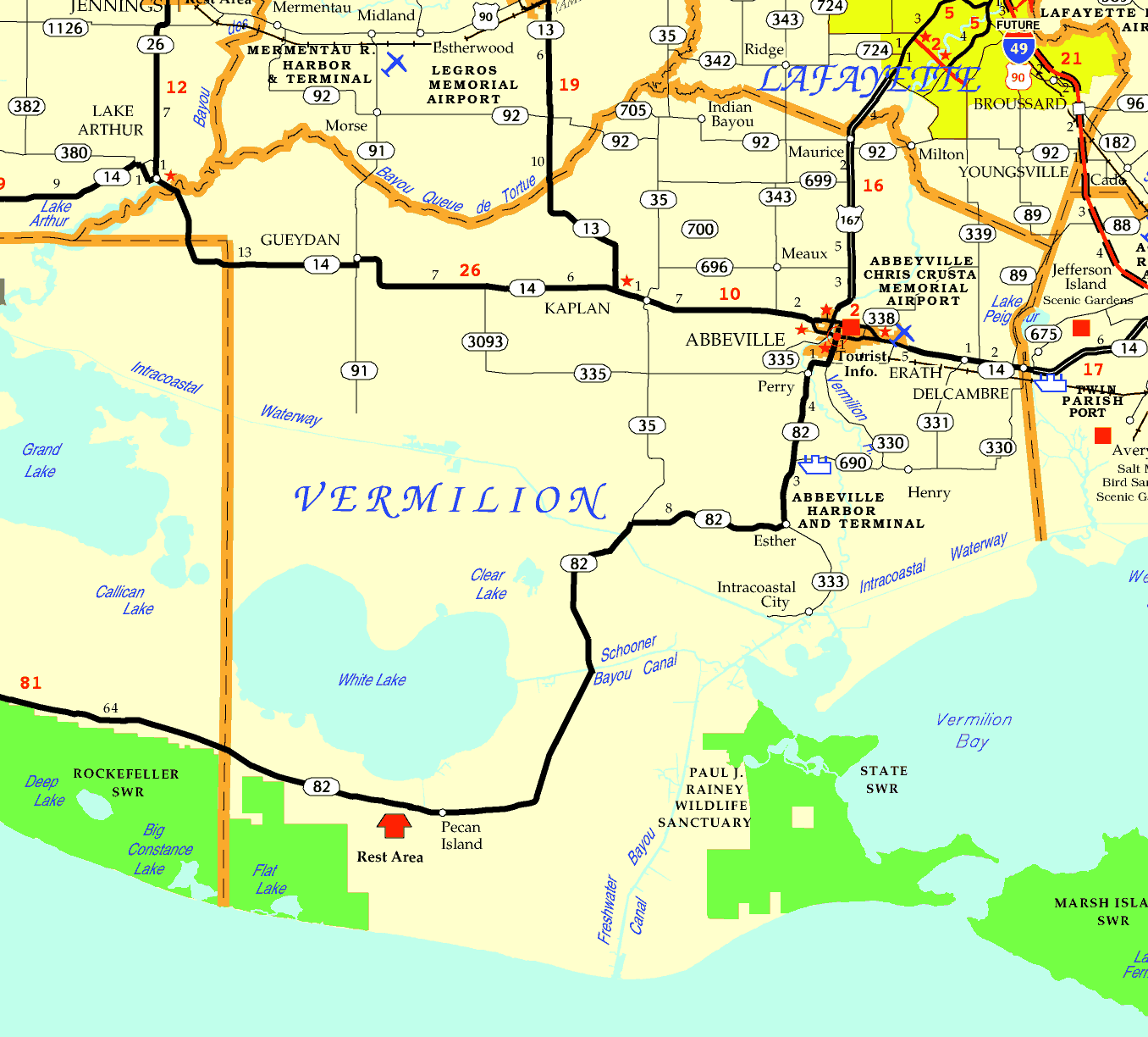 DOTD Tourism Map of Vermilion Parish