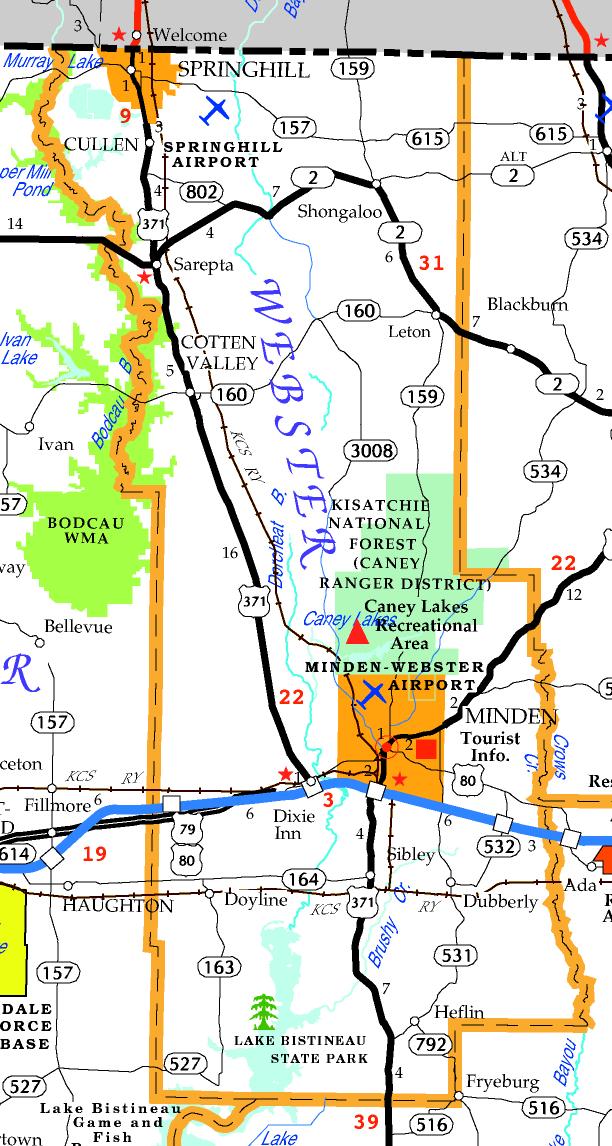 DOTD Tourism Map of Webster Parish